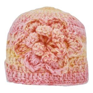 🆕Hand-Crocheted Yellow and Pink Beanie